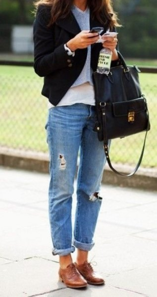 black blazer with grey sweater and blue cuffed boyfriend jeans