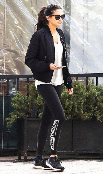 black blazer with light grey v neck tee and leggings