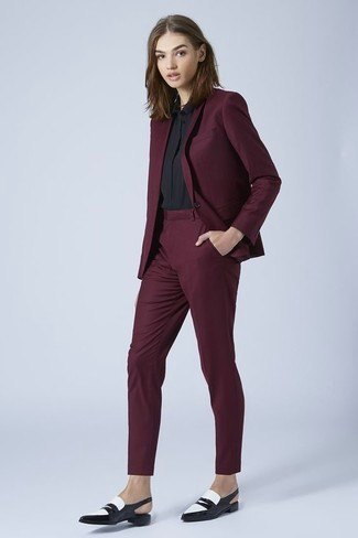 black blazer with matching cropped skinny chinos and leather dress shoes