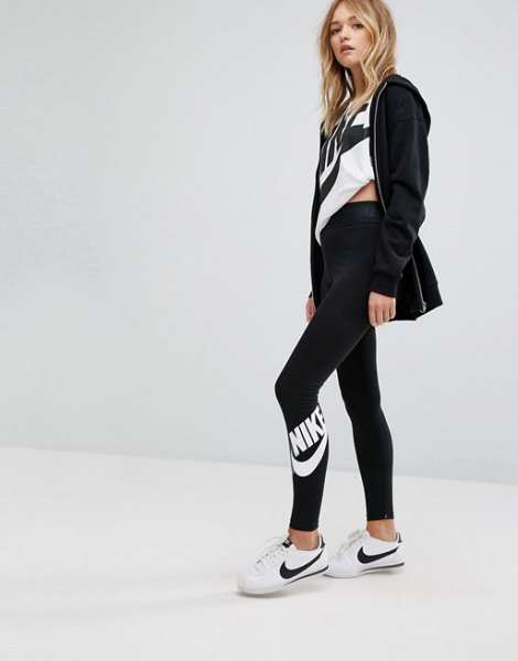 black cardigan with white print tee and nike high waisted leggings