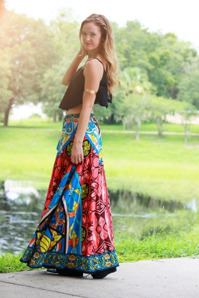 black cropped tank top with blue printed gypsy skirt
