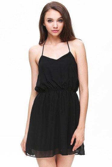 black fit and flare spaghetti strap mini chiffon halter top dress