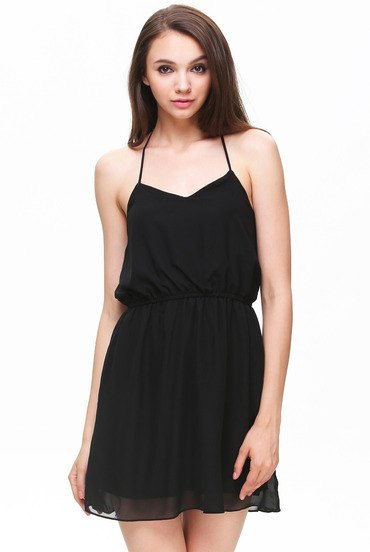 black fit and flare spaghetti strap mini chiffon halter top dress