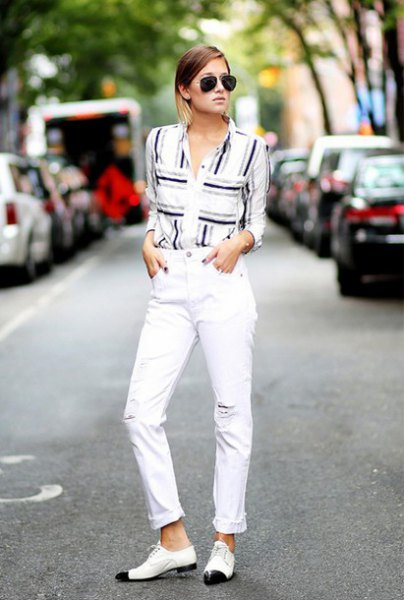 black grey and white graphic button up shirt with matching cropped jeans