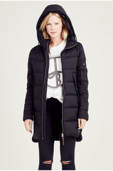 black hooded down jacket with white graphic sweatshirt