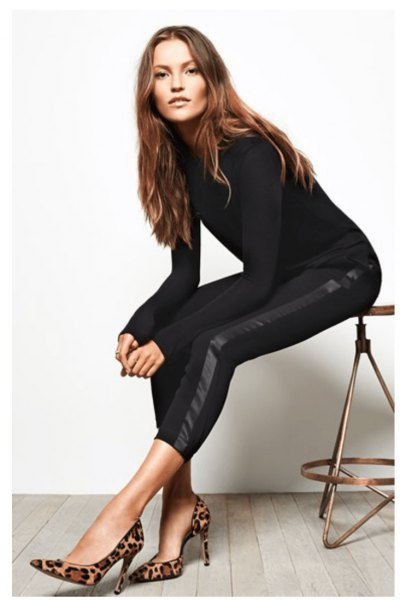 black knit form fitting sweater with cropped skinny pants