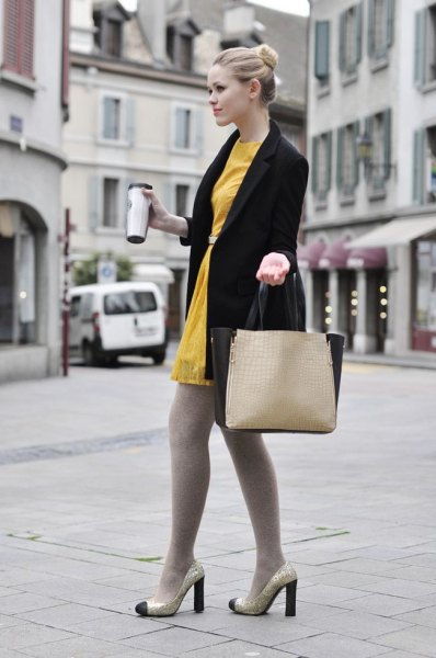 black long blazer with mustard yellow tunic dress and leggings