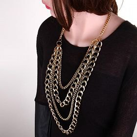 black scoop neck sweater with statement gold chain