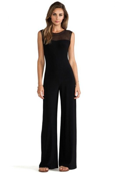 black semi sheer neckline sleeveless formal jumpsuit