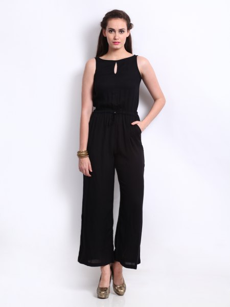 black sleeveless keyhole fit and flare formal jumpsuit