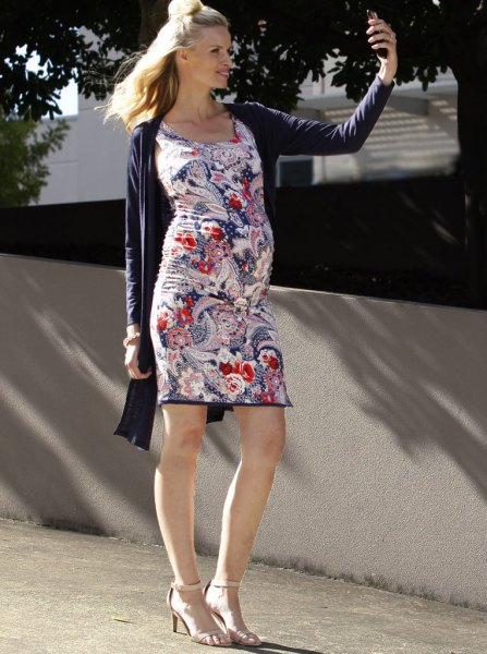 blue and white floral printed mini dress with black longline cardigan