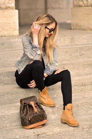 blue denim jacket with black jeans and high top light brown leather dress shoes