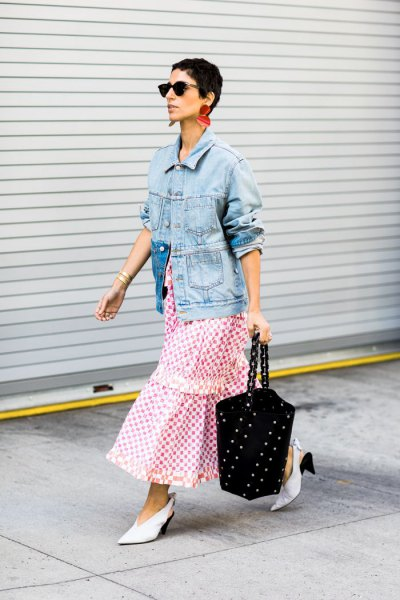 blue denim jacket with grey and white plaid maxi skirt