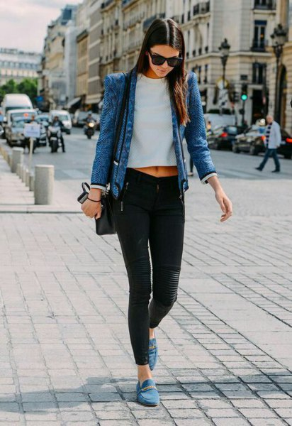 blue denim jacket with white cropped tee and grey suede dress shoes