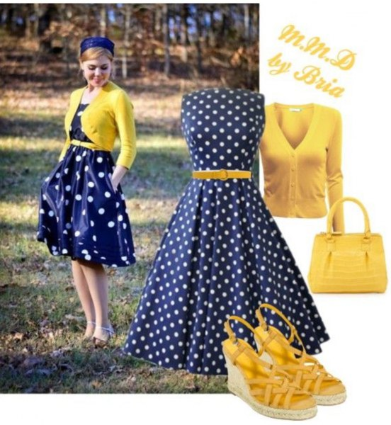 blue polka dot dress with yellow short cardigan sweater