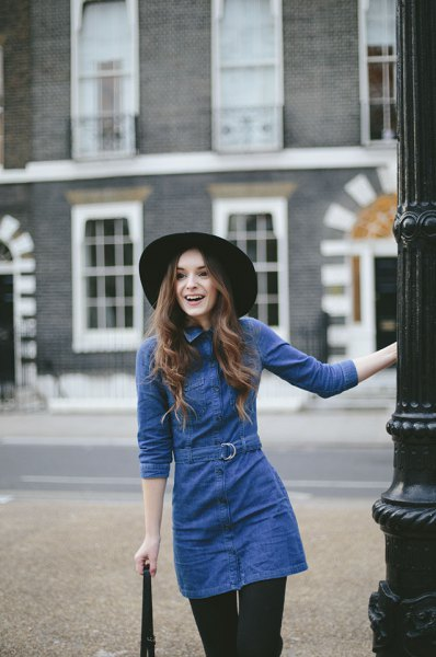 blue tie waist long sleeve tunic jean dress with black leggings