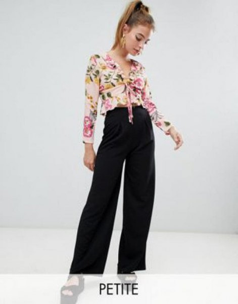 blush pink knotted chiffon blouse with black jeans