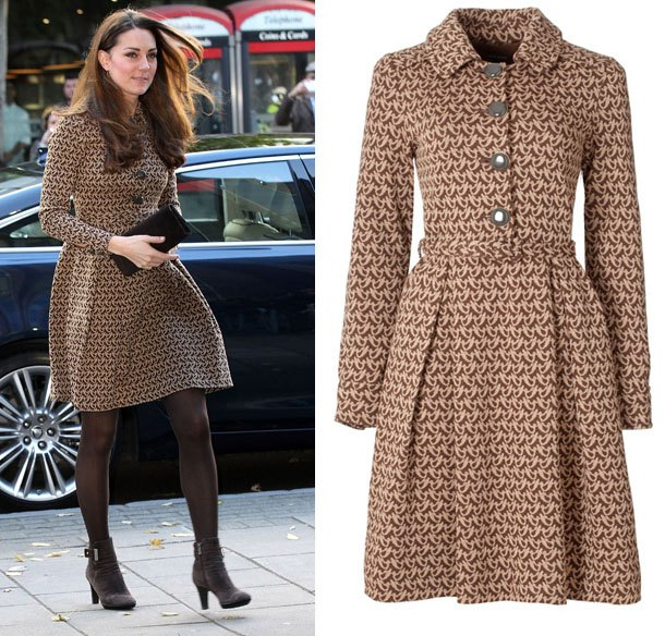 brown and white printed wool coat dress with stockings and heels