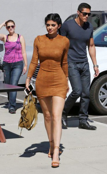 brown bodycon mini suede dress with camel open toe heels