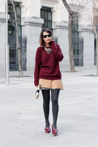 burgundy sweatshirt with blush pink lace mini skirt