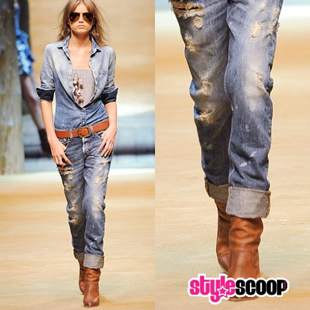 chambray slim fit shirt with belted cut up boyfriend cuffed jeans