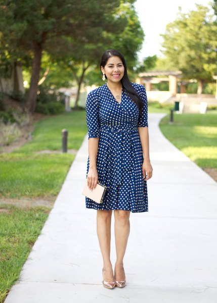 dark blue and white fit and flare half sleeve knee length dress