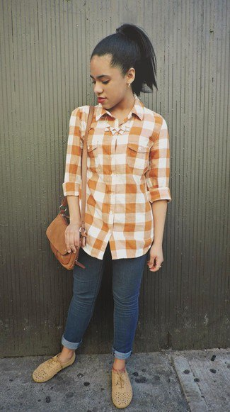 green and white plaid shirt with dark blue cuffed skinny jeans and suede oxford shoes