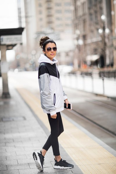 grey black and white windbreaker with running tights