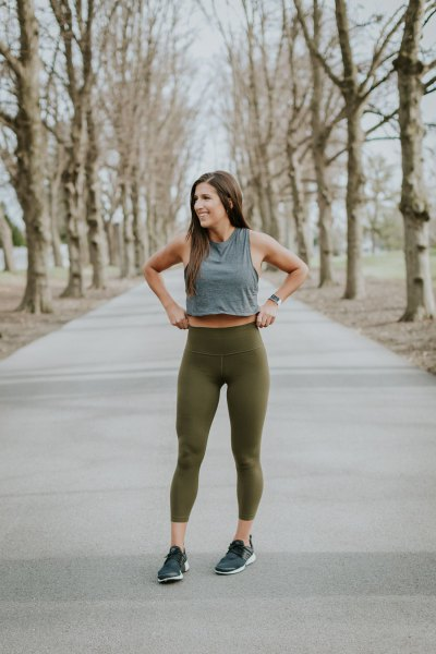 grey cropped tank top with green cropped fitness leggings