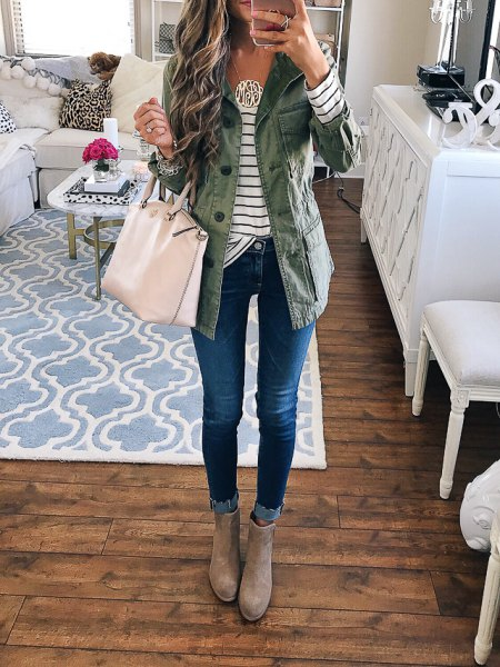 grey longline denim jacket with striped tee