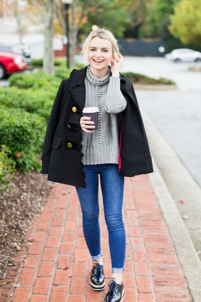 grey mock neck knit sweater with black double breasted wool coat