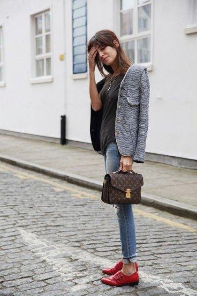 grey tweed blazer with black tee and brown dress shoes