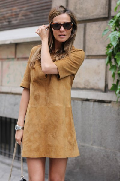 half sleeve suede brown mini shift dress with matching shoulder bag