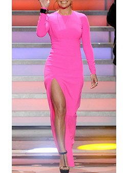 hot pink high slit long sleeve maxi dress with black open toe heels