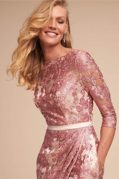 hot pink lace midi bodycon dress with white belt