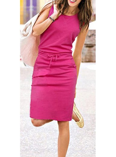 hot pink sleeveless sheath knee length dress with white leather jacket
