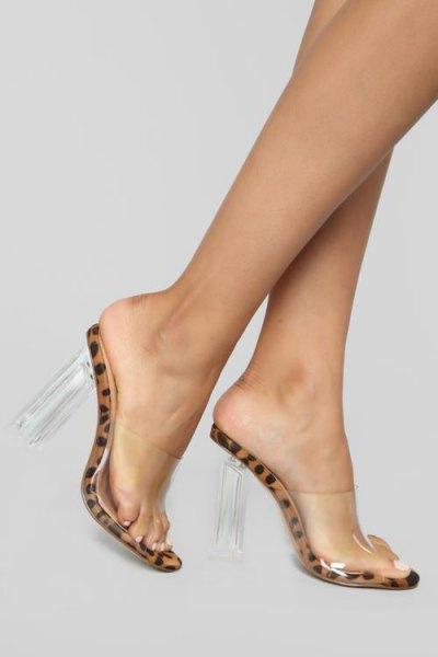 leopard print and transparent kitten heels with black tank mini dress