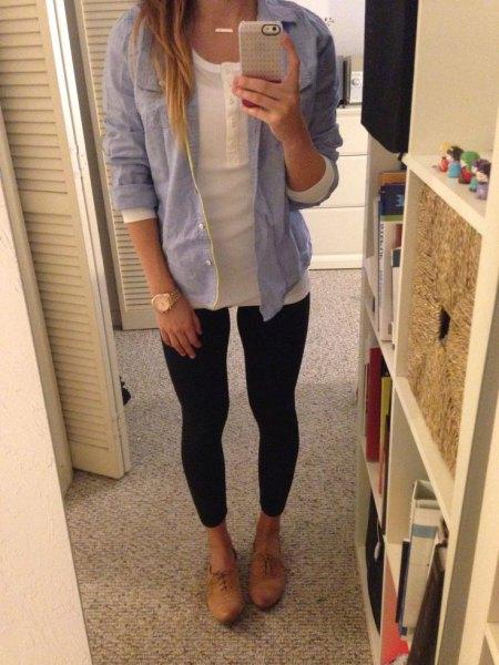 light blue chambray boyfriend shirt with black super skinny jeans