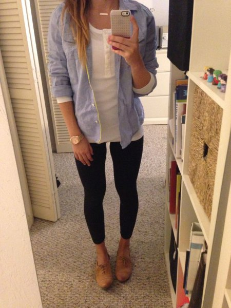 light blue chambray boyfriend shirt with black super skinny jeans