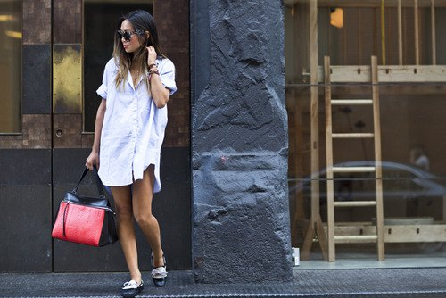 linen button up shirt dress with black and white dress shoes
