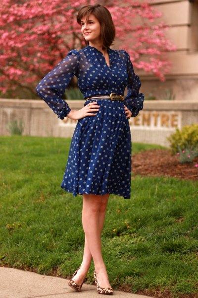 long sleeve chiffon belted knee length blue polka dot dress