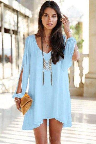 mini light blue long sleeve dress with boho statement necklace