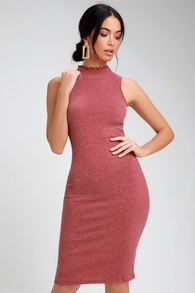 mock neck bodycon midi dress with pale pink open toe heels