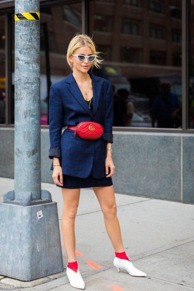 navy blue blazer with mini black dress and white short leather kitten heel boots