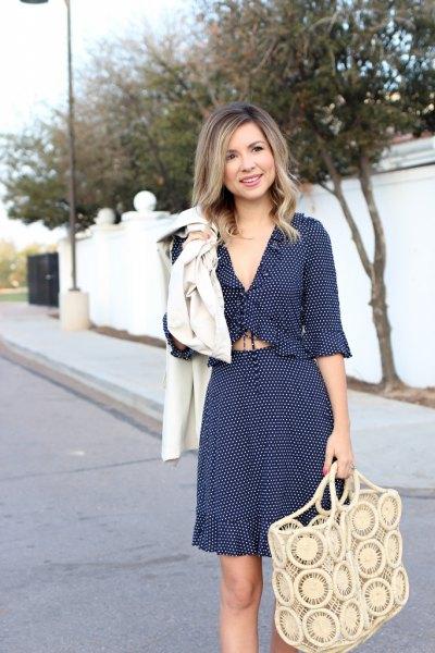 navy blue two piece polka dot ruffle hem mini dress