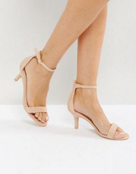 pale pink kitten heel sandals with blush chiffon shift mini dress