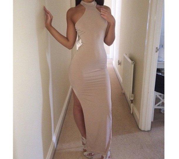 pale pink mock neck halter top maxi high split dress