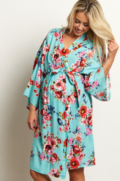 pink wide sleeve knee length robe