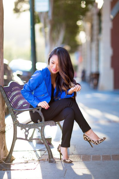 royal blue blazer with leopard heels