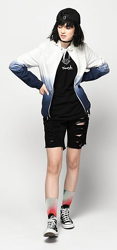 white and black gradient windbreaker with denim mini ripped shorts